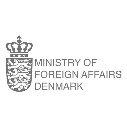 Grayscale version of the Ministry of Foreign Affairs Denmark logo