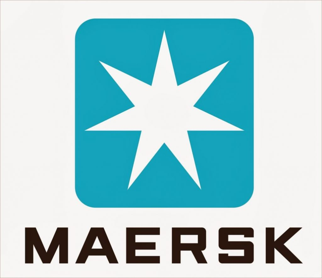 Logo for the MAERSK corporation. Whites star on a blue border logo on a white background