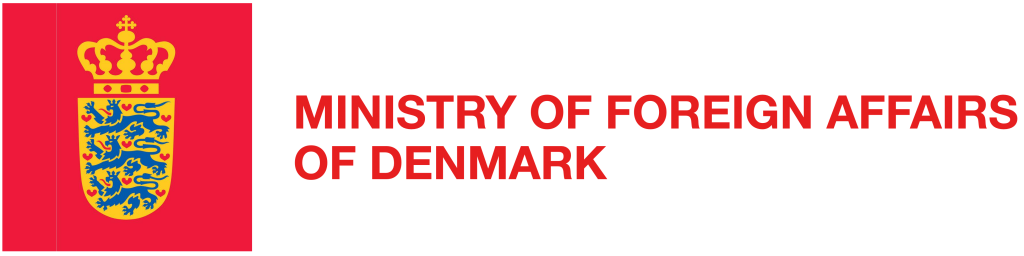 Logo for the Ministry of Foreign Affairs in Denmark. Red, gold and blue logo on a white background