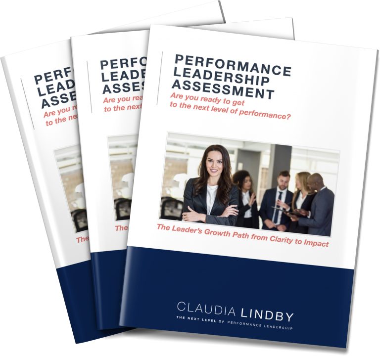A stack of three eBooks - The Performance Leadership Assessment by Claudia Lindby